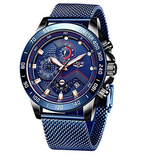 Armband Uhren Herren Luxus Edelstahl Mesh Band Chronograph Quarz Uhr Blau Männer Datum Kalender Wasserdicht Multifunktions Armbanduhr Schwarze Blau