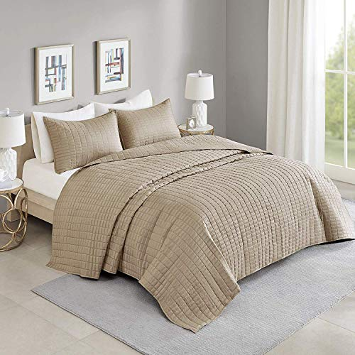 Comfort Spaces Kienna Quilt Coverlet Bedspread Ultra Soft Hypoallergenic All Season Lightweight Filling Stitched Bedding Set, Oversized Queen 108'x118', Taupe