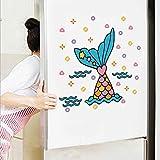 Wandtattoos Farbige Fishtail Pvc Glasaufkleber Wandbilder Kinderzimmer Kindergarten Junge Mädchen Schlafzimmer Kühlschrank Aufkleber Vinyl Dekor Abnehmbare 30X20 Cm