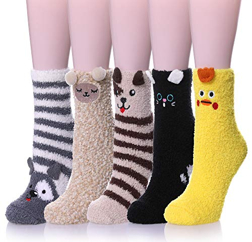 Womens Soft Cute Funny Animal Designe Microfiber Slipper Socks Cozy Fuzzy Winter Warm Socks (5 Pairs Animal B)
