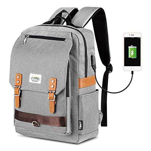 Unisex Vintage Rucksack, College Tasche Passt bis zu 15,6 Zoll Laptop, Mode Casual Rucksack wasserdichte Tagesrucksäcke für Schulreisen mit USB Aufladung (Grau)