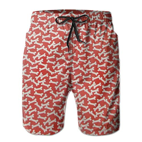 Casual Men Beach Shorts Swim Trunks Quick Dry Half Pants - Dog Bones L