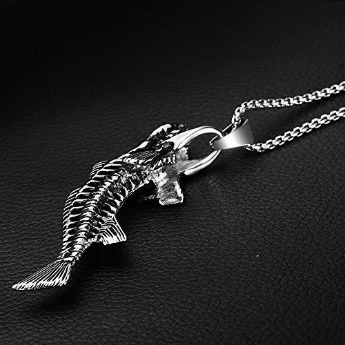 Burenqi Skeleton Vissen Bone Ketting Roestvrij Staal Zilver Goud Mens Dierlijke Vissen Skeleton Hanger Kettingen Mode Sieraden