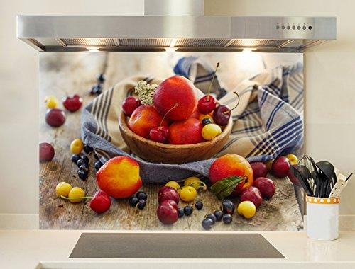 Credence, Boden für Dunstabzugshaube–Fruit rot 75 X 60cm (LxH) Aludibond (Rendu Mat)