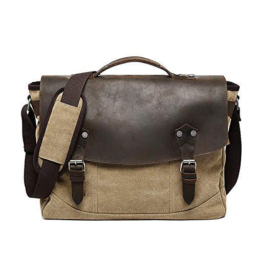 Schoudertas/schoudertas omtoverbaar in rugzak voor het opbergen van laptops, aktetas, retro handtas, van linnen, USB (30 x 15 x 40 cm), camuflaje verde. (Beige) - 9869906877878