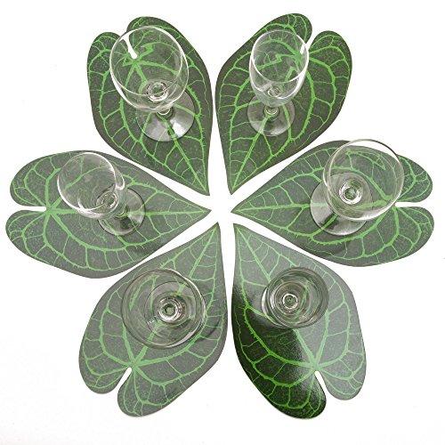 ROSEMARIE SCHULZ® 12-er Set Blumen Glasuntersetzer Motiv Anthurienblatt Grün - Bar, Kaffee, Tee, Bier und Wein Glas Untersetzer, 23x14cm