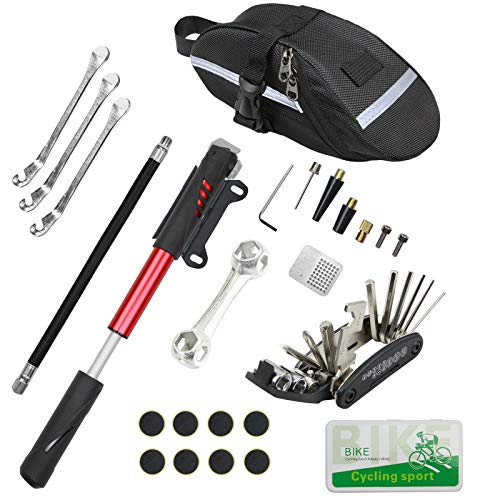 Fahrrad Reparatur Set, Fahrradreifen Reparatur Werkzeug Set enthält 16-in-1-Werkzeug, 120 Psi Mini-Fahrradpumpe, Fahrradreifen-Patch-Kit, verwendet für Mountainbike und Rennrad.
