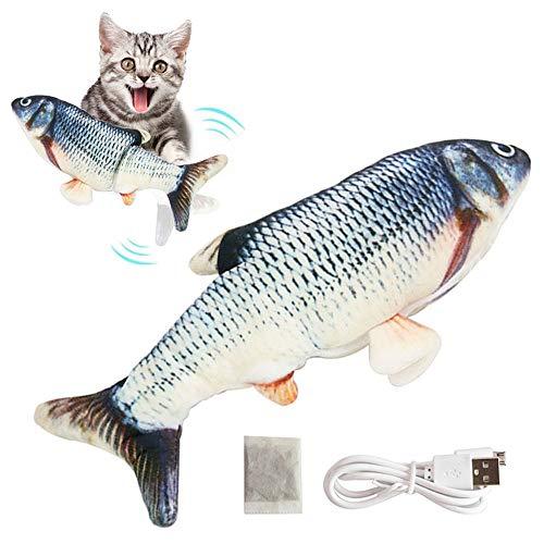 CNSSKJ Juguete eléctrico para gatos, juguete interactivo, USB, juguete eléctrico de peluche, pez con menta gata para jugar, Floppy Fish lavable para gatos