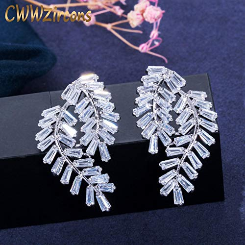 yqs Stud Earrings Elegant Design Big Leaf Shape Square Cubic Zirconia Stone 925 Sterling Silver Women Stud Earrings Jewelry