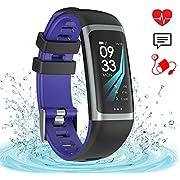 Fitness Armband Wasserdicht IP67 Unisex Aktivitätstracker zur Herzfrequenz und Fitnessaufzeichnung Smartwatch Schrittzähler Uhr Vibrationsalarm Anruf SMS Whatsapp Beachten für iPhone Android Handy (blue)