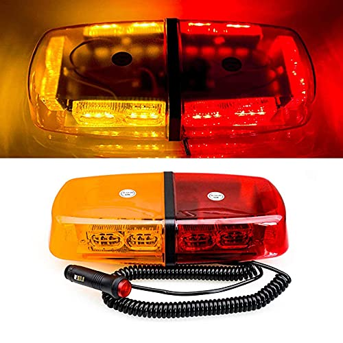 Luces estroboscópicas de la azotea, LED Mini Barra de luz estroboscópica Barra de techo transparente Flash Beacon Magnético Base de montaje magnético para Snow Pupo de seguridad Coches de seguridad Ad