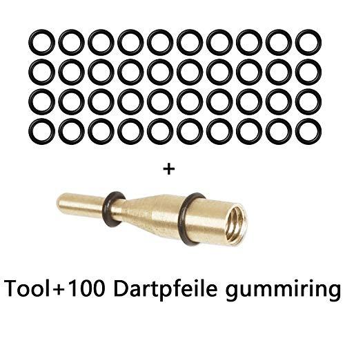 CyeeLife-Dart Gummiringe|Tool+100Stück Gummiringe|2BA Aluminium Welle Antiskid Dart Gummiringe O Rings Unterlegscheiben