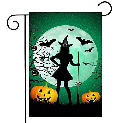 Halloween Lustiger Hexenbesen Kürbis Garten Hof doppelseitig, 32,5 x 45,7 cm, vertikale kleine Mini-Heim-Outdoor-Gartendekoration, einfach zu installieren
