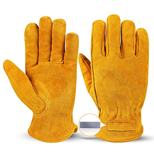 OZERO Leather Work Gloves Flex Grip Tough Cowhide Gardening Glove with a Detachable Magnet for Holding Nails 1 Pair (Golden, Medium)