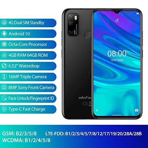 Telephone Portable Android 10 Octa-Core 4Go+64Go, 4G Smartphone Debloqué Pas Cher, Ecran 6,52 Pouces, 16MP AI Triple Rear Caméras Ulefone Note 9 P,