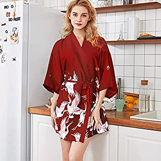 GoolRC Women Long Bathrobe Pajamas V-neck Bandage Robe Night Dress Nightwear Sleepwear Ladies Long Nightgown Print Crane K...