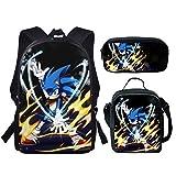 Paquete de comidas Sonic 3 unids/set Fire Sonic The Hedgehog, mochilas escolares con estampado para adolescentes, niños, mochila escolar de dibujos animados, mochilas para estudiantes