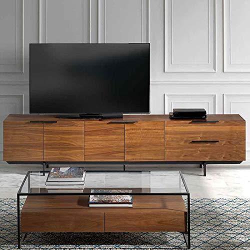 Artemis TV-meubel, modern, kleur notenhout/metaal, zwart