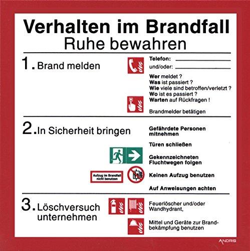 Orig. ANDRIS® Schild Brandschutzordnung - Verhalten im Brandfall ISO 7010 Schild Kunststoffplatte 200x200mm