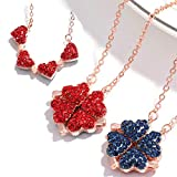 Magnetic Hearts Clover Necklace Lucky Four Leaf Clover Necklace, 4-in-1 Wearing 2 Sides Diamond Heart Love Pendant for Women Gifts A