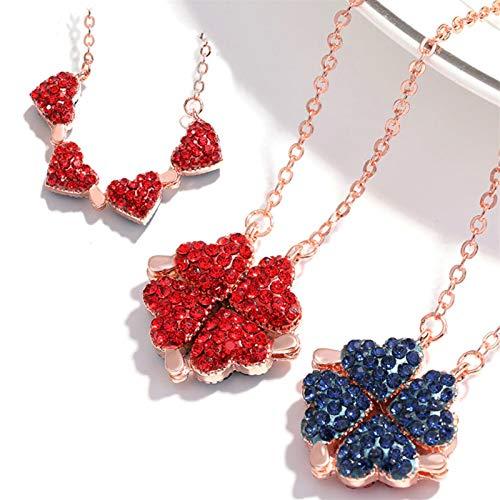 UBSS Collar de trébol de Corazones magnéticos Collar de trébol de Cuatro Hojas de la Suerte, 4 en 1 con Colgante de Amor de corazón de Diamante de 2 Lados para Regalos de Mujer A