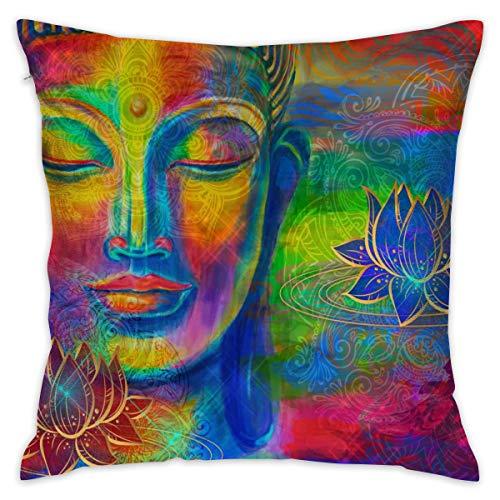 Depaga Head Lord Buddha - Funda de cojín Decorativa para el hogar, sofá, Dormitorio, Silla de Coche, casa, Fiesta, Interior y Exterior, 45 x 45 cm