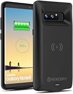 NEWDERY Upgraded Galaxy Note 8 Battery Case Qi Wireless Charging Compatible, 5500mAh Slim Extended Rechargeable External Charging Case Compatible Galaxy Note 8 (6.3 Inches Black)
