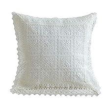 XHXseller - Funda de cojín con bordado de encaje decorativo, funda de almohada cuadrada, para sala de estar, sofá, dormitorio, sofá o coche (45 x 45 cm) Tamaño libre Cuadros blancos