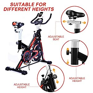 No-branded HONRISE 118A Spinning Bikes Spin Bike, Exercise Bike Indoor, Cycling Bicycle Stationary Bikes Cardio Machine Upright Bike Belt Drive Home Gym, Spinning Bike