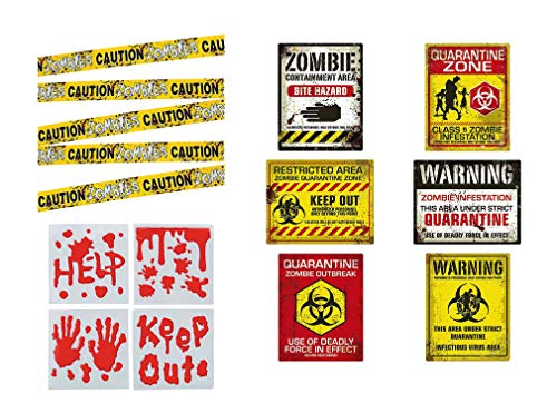 Zombie Caution Tape, Quarantine Signs and Bloody Handprint Decals for Zombie Party or Quarantine Birthday Party