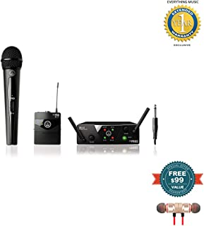 AKG WMS40 Mini Dual Vocal Handheld/Instrument Wireless Microphone System Includes Free Wireless Earbuds - Stereo Bluetooth in-Ear and 1 Year Everything Music Extended Warranty