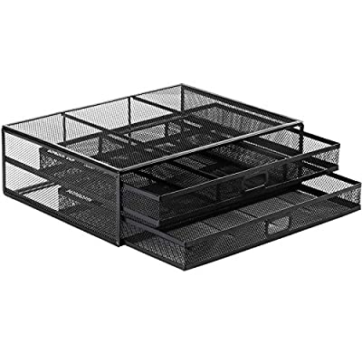 HUANUO Monitor Stand with 2 Storage Drawers - Metal Mesh Desk Organisers, Support Laptop, Notebook, PC, Monitor, Printer, Scanner up to 15 KG