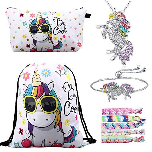 RLGPBON Pack 5 Unicornios Mochila con cordón/Maquillaje Bolsa/Collar de Cadena de aleación/Pulsera/5...
