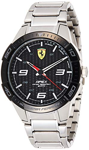 Scuderia Ferrari Mens Analogue Classic Quartz Watch with Stainless Steel Strap 0830641