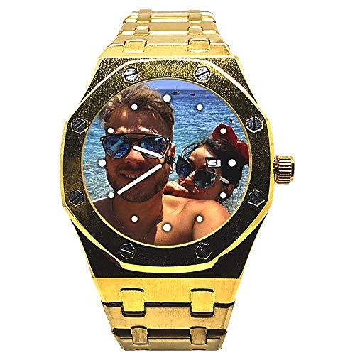 EREMITI JEWELS Orologio Personalizzato con Datario Cinturino Maglia Larga - Personalizzabile con Foto Immagine Logo Frase Testo (Oro)