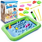 3 otters Play Sand and Sand Molds Kit, 4 Lbs Magic Sand Play Sand Beach Mold Kit Play Sand Set with 45 Pcs Sand Molds and 1 Sand Tray
