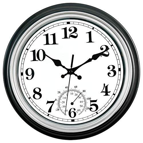 Horloge murale et thermomètre de 12 pouces - Design classique extérieur et intérieur - Grand design - Pour jardin, cuisine, salle de bain - Argenté