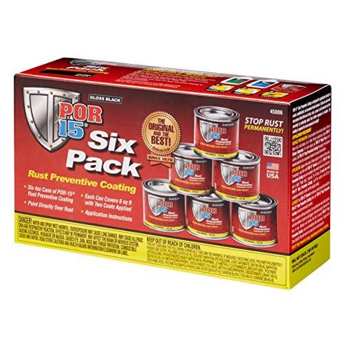 POR-15 45006-6PK Gloss Black Rust Preventive Coating - 4 fl. oz., (Pack of 6)