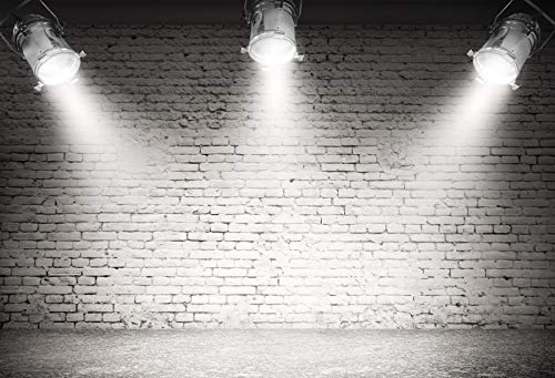 Baocicco 10x6.5ft Stage Backdrop Spotlights Grey Brick Wall Cement Floor Photography Background Circus Decor Concert Show Performance Children Adults Portrait Blogger Studio Video Prop Drapes
