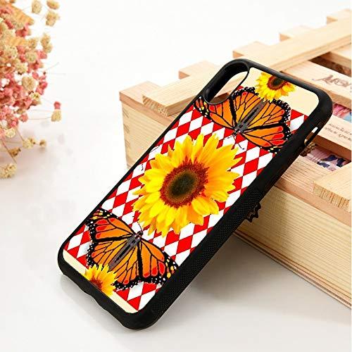 KKAAVV para 5 5s Se 6 6s Funda de Goma para teléfono para iPhone 7 8 Plus X XS 11 Pro MAX XR Monarca Mariposas Girasoles Diamantes Rojos, para iPhone 7 Plus