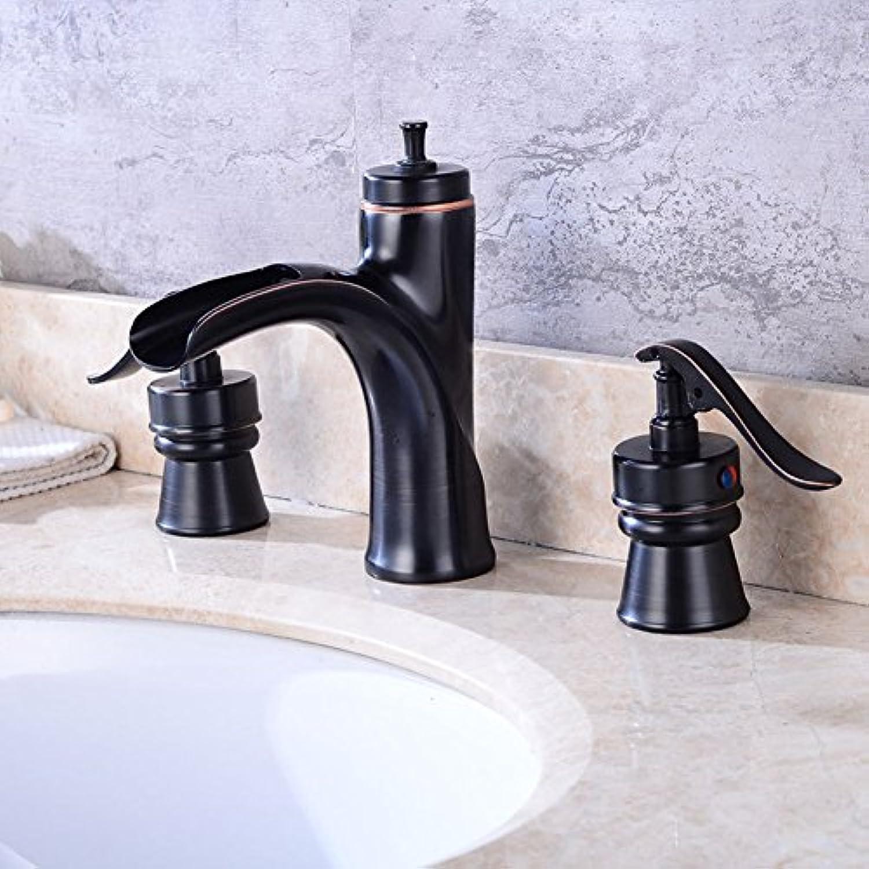 GZF Wasserhahn Europische Schwarz Wasserfall hei Wasserhahn Drei Lcher Badewanne Wasserhahn Bad Waschbecken Waschbecken Wasserhahn