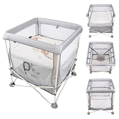COLOR TREE 4 in 1 - Baby Portable Folding Crib + Bedside Sleeper Bassinet + Playpen + Jumper for Newborn Toddlers, with Skin-Friendly and Removable Mattress, Indoor and Outdoor Use