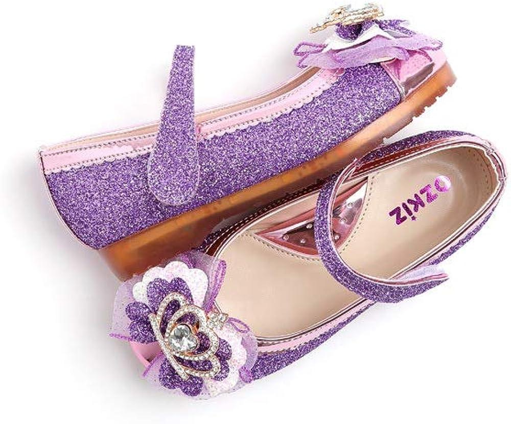 Ozkiz 'Juju Crown' LED Mary Jane Shoes for Girls_Purple, US Size 8 Toddler ~ 1.5 Little Kid