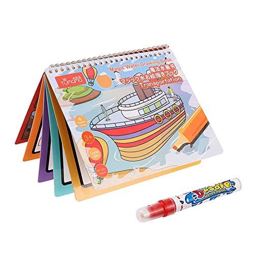 FENGLI Libro de fotos de agua para niños de educación temprana, tabla de fotos de agua se puede reciclar, libro de fotos de agua mágica, adecuado para niños de jardín de infancia (color: transporte)