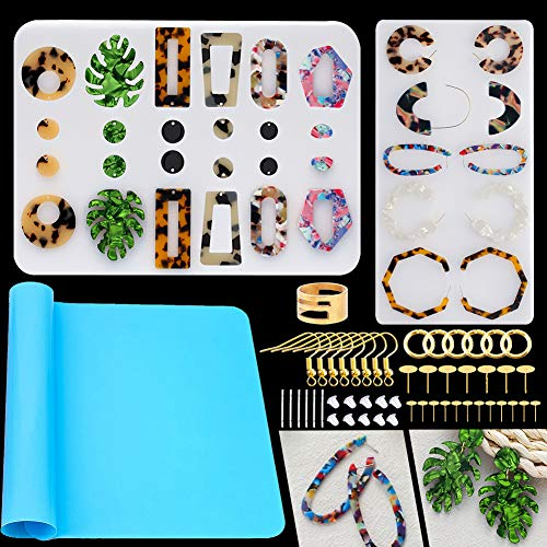 Earring Resin Molds,Casting Molds Tools Set Including Earring Hooks, Jump Rings, Head&Eye Pins for Resin Jewelry, Resin Crafts DIY