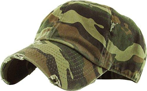 KBETHOS Vintage Washed Distressed Cotton Dad Hat Baseball Cap Adjustable Polo Trucker Unisex Style Headwear (Vintage) Camo Adjustable