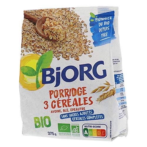 Bjorg Porridge 3 céréales Bio - Céréales complètes pour le petit-déjeuner - 375 g