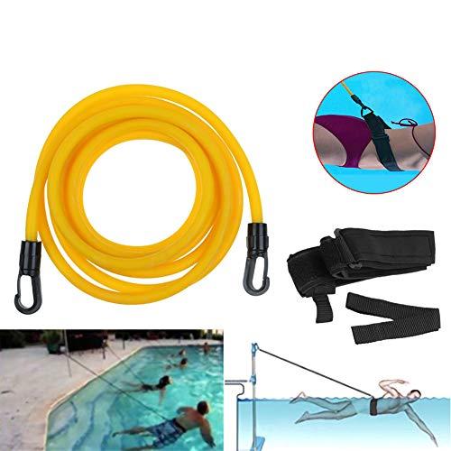 BONTIME Cintura da Allenamento per la Resistenza alla Nuotata con attrezzo Ginnico Regolabile per Elastico da Nuoto per Bambini Adulti