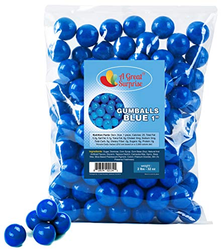 Gumballs in Bulk – Blue Gumballs for Candy Buffet – Gumballs 1 Inch – Bulk Candy 2 LB