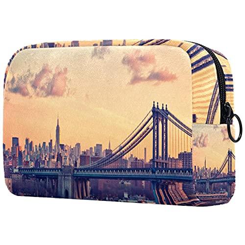 Kompakte Kosmetiktasche Schminktasche Geldbörse, Bay Bridge New York